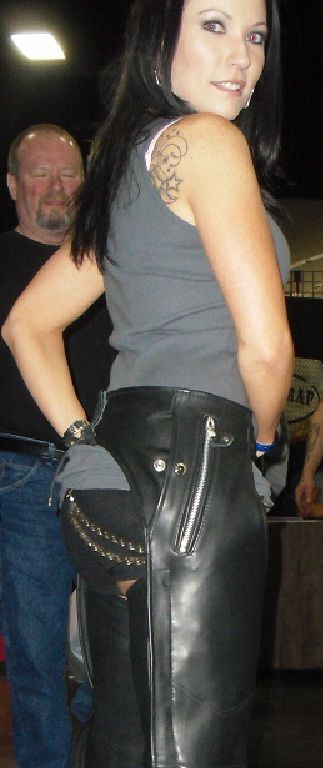 Sexy black women leather chaps