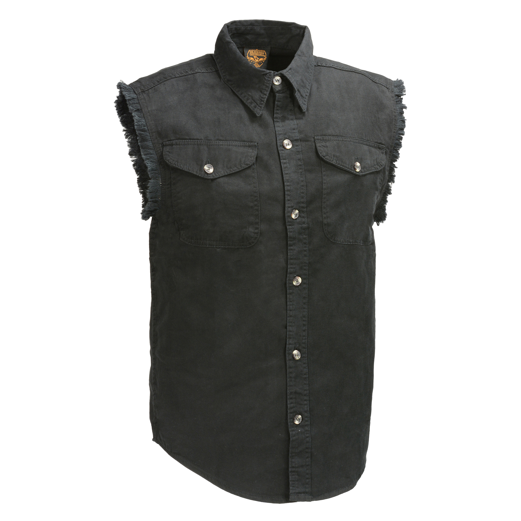 0e1f8ba7d3f DM1002-BLACK - Men s Black Lightweight Sleeveless Denim Shirt