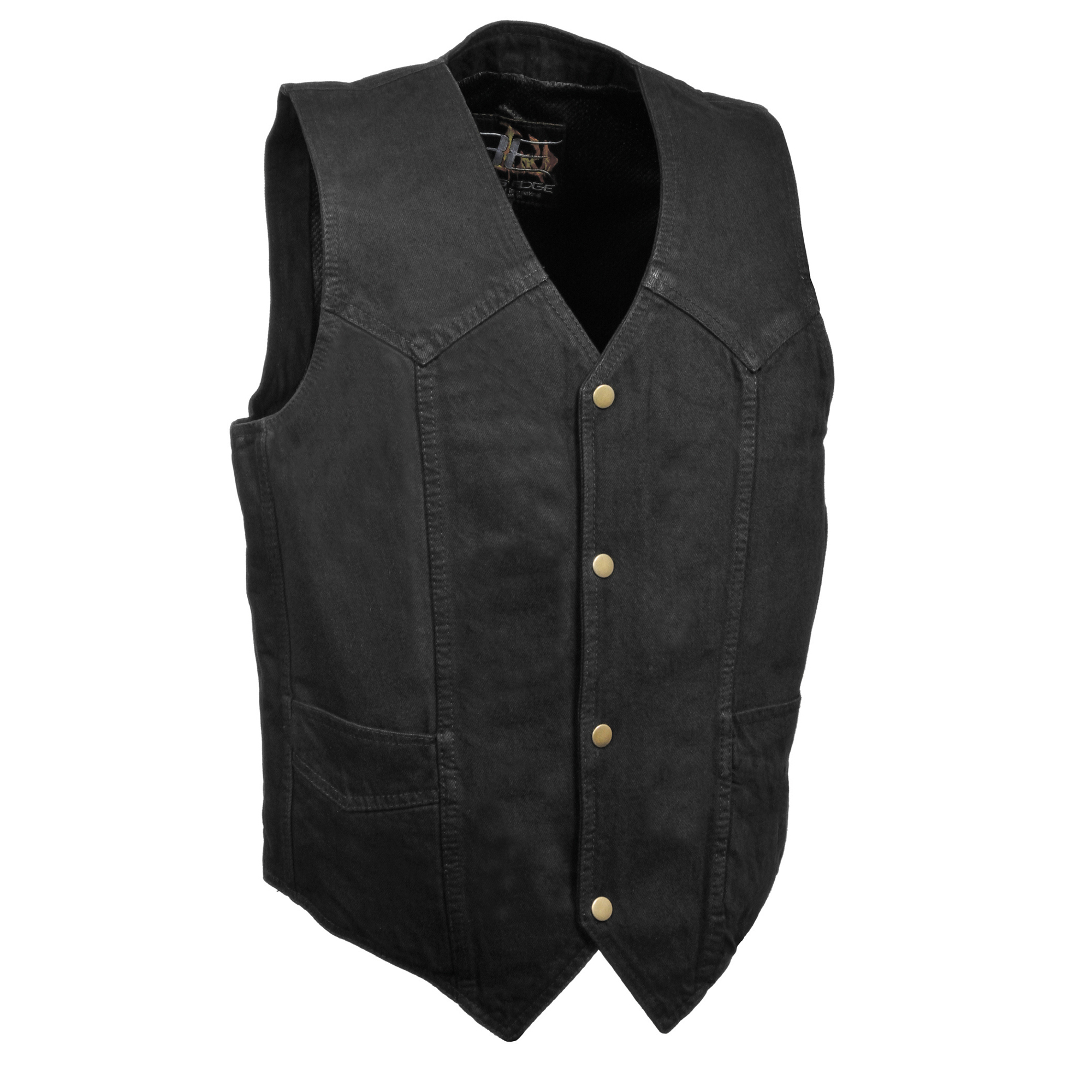 87897bdebb0fe DM1310-BLACK - Men s Classic Snap Front Denim Biker Vest