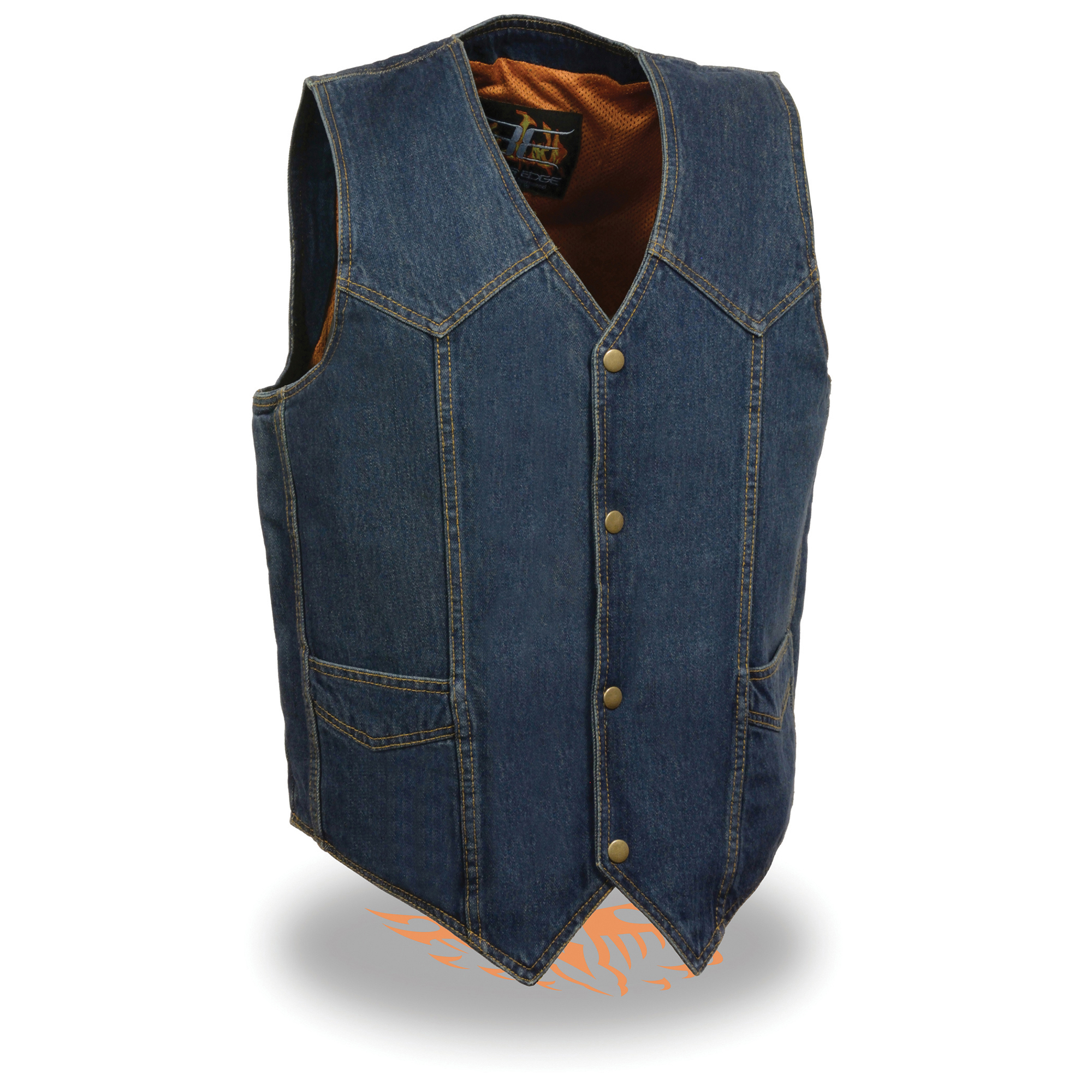c563417cca3d8 DM1310-BLUE - Men s Classic Snap Front Denim Biker Vest