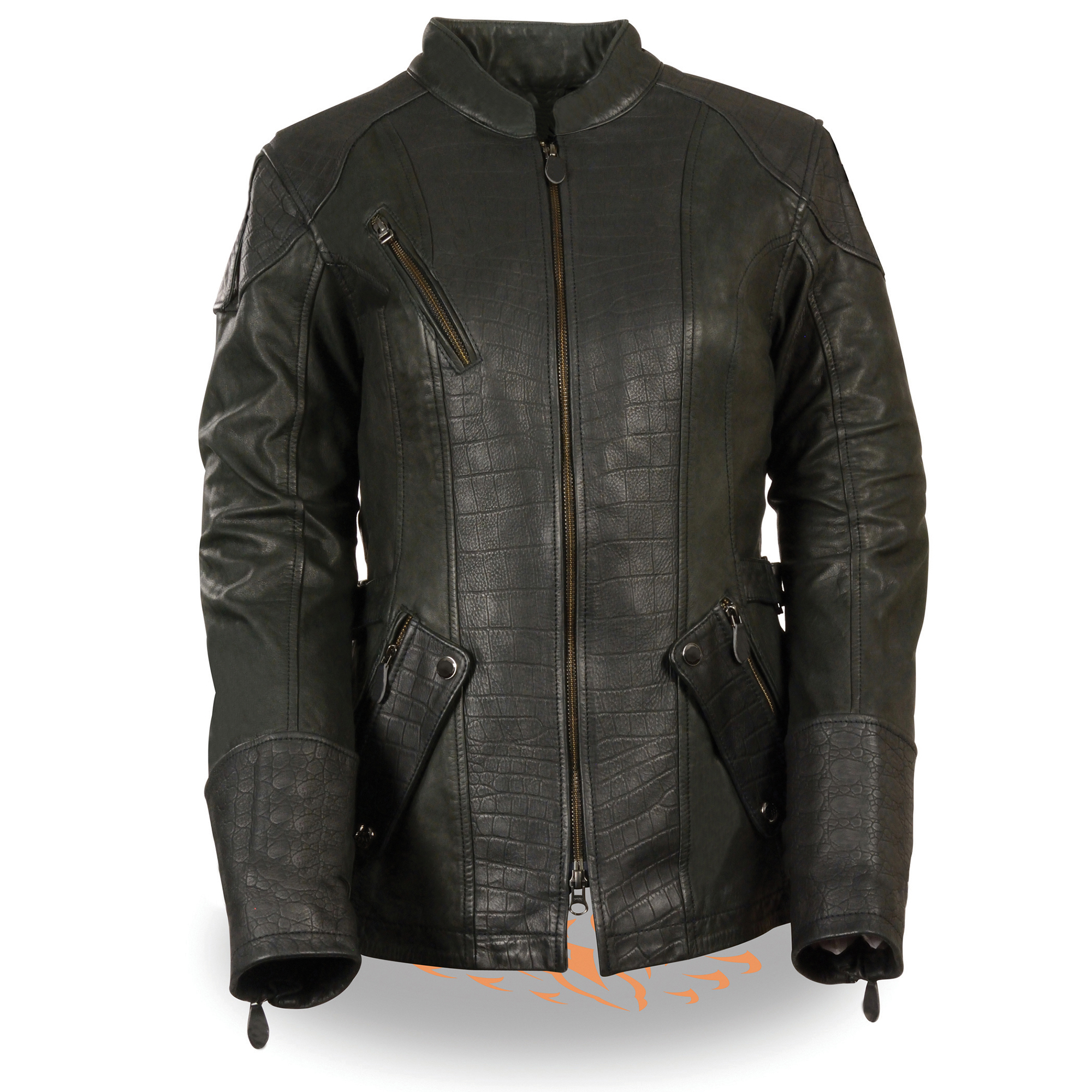 0fce86db07924 MLL2560-BLACK - Ladies ¾ Length Stand Up Collar Embossed Print Leather  Jacket