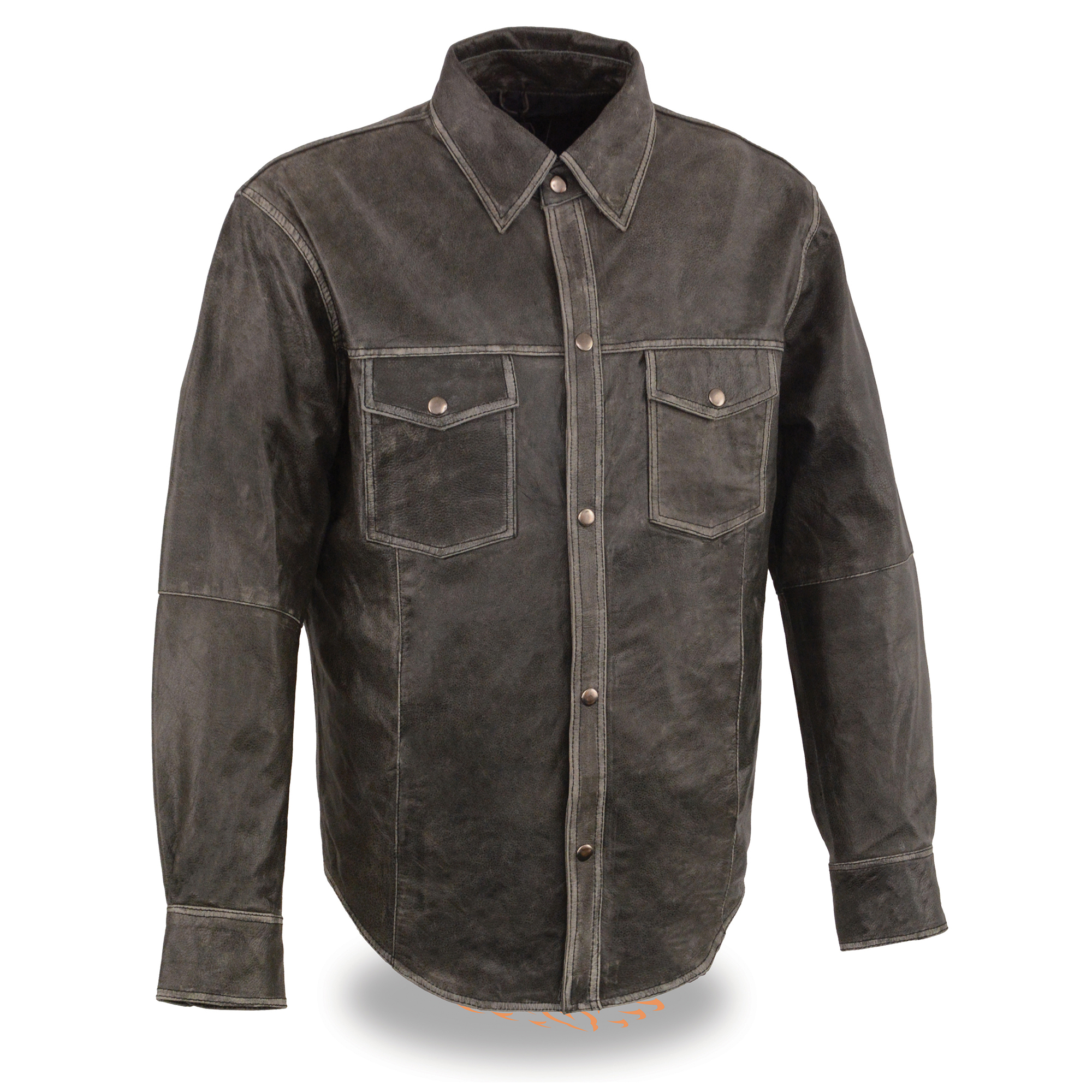 7ddad5fb3 Men's Distressed Gray Lightweight Leather Snap Front Shirt