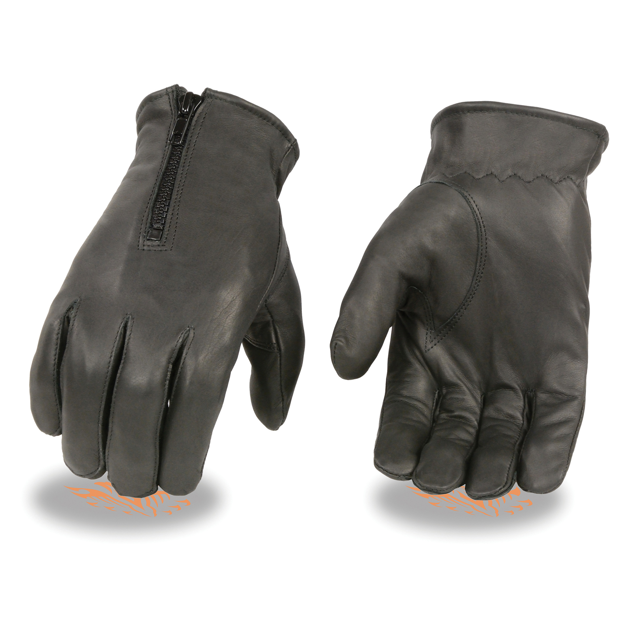 MG7525 Men's Leather Riding Glove w// Stretch Knuckles /& Reflective Piping